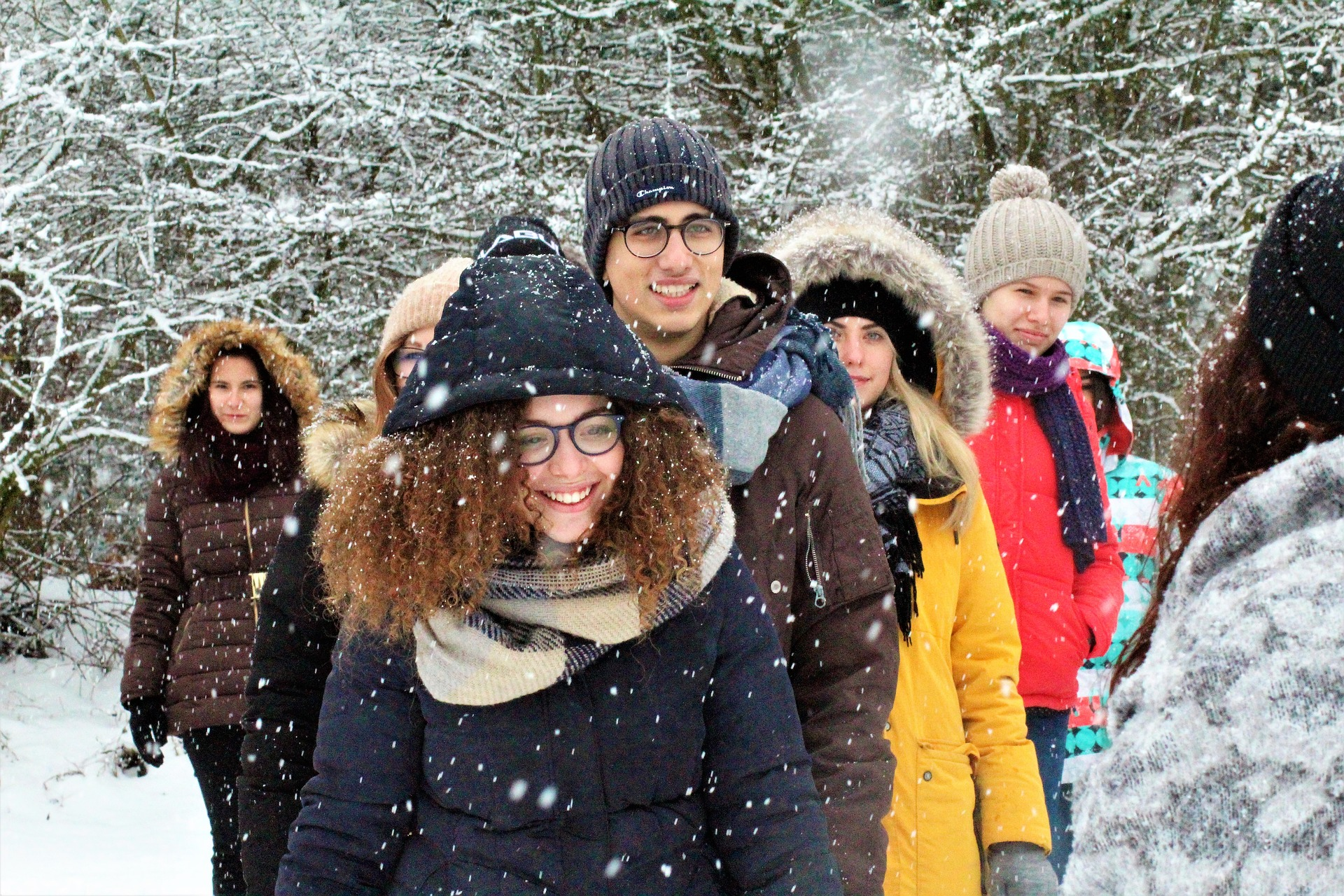 Students standing in the snow.