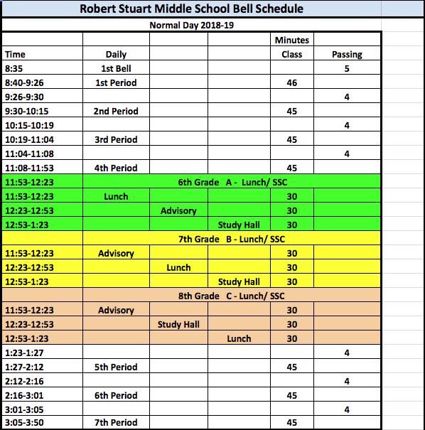 bell schedule robert stuart middle school