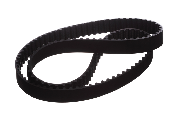 A ribbed serpentine belt on a white background