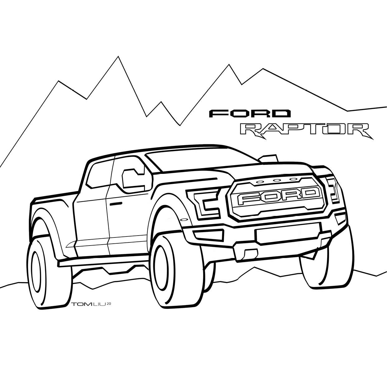 Ford F150 Coloring Page - Ford Pickup Truck For Coloring ... | 1242x1242