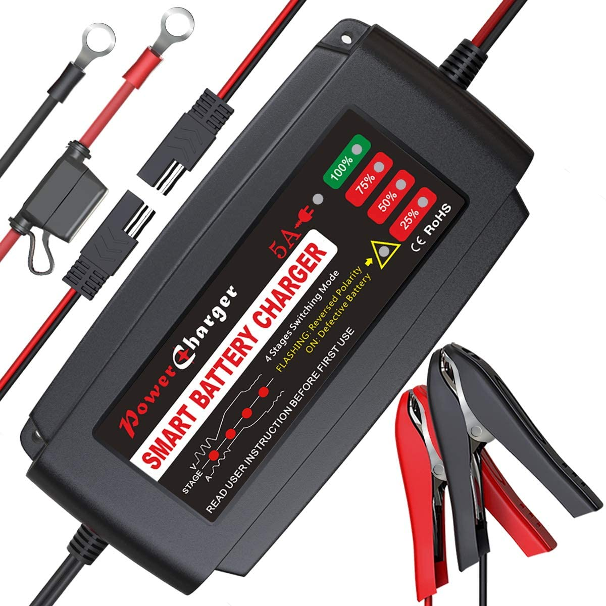 BMK BLUEMICKEY 12 Volt Portable Battery Charger and Maintainer