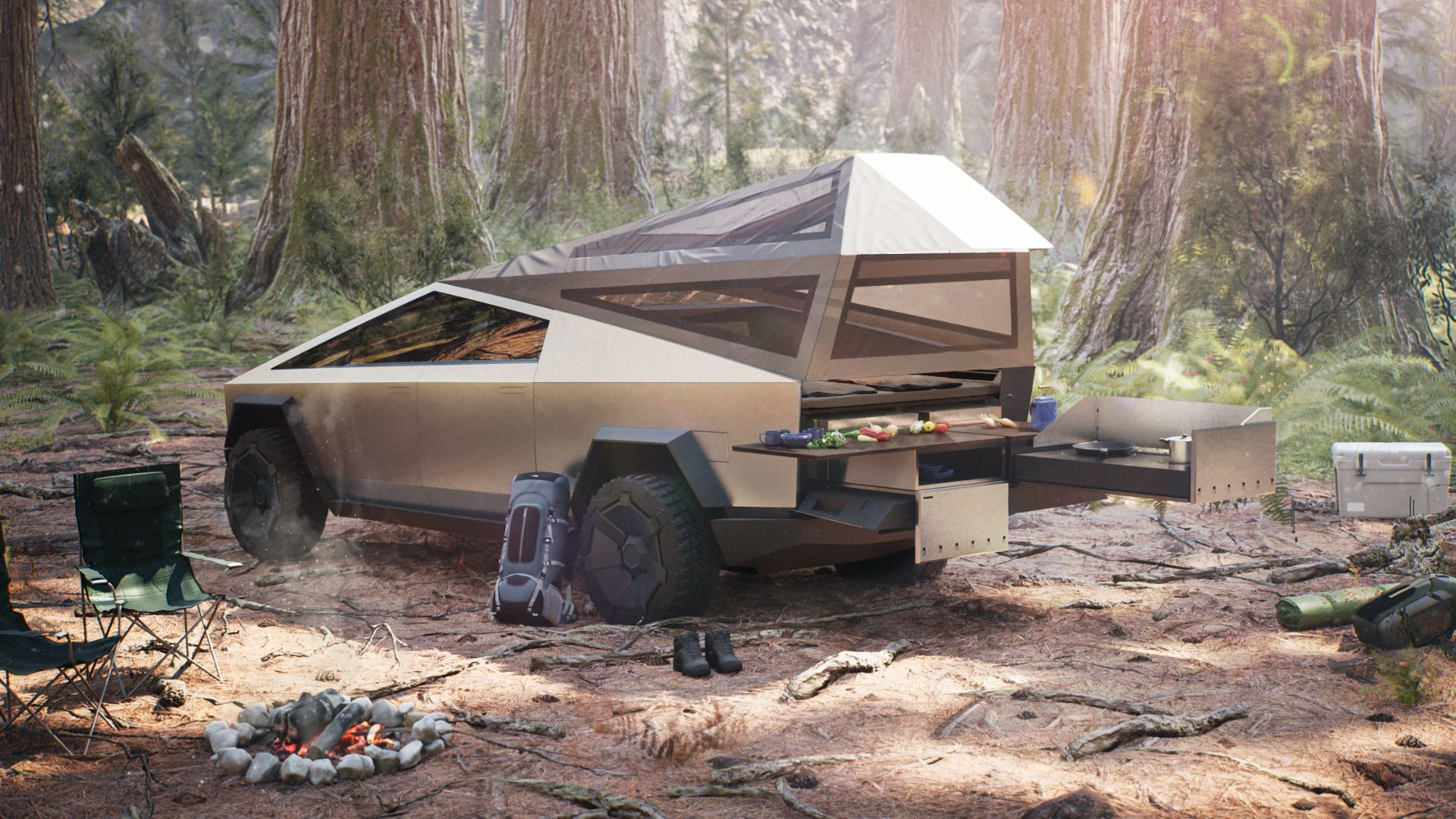 Tesla's camping attachment for the Cybertruck.