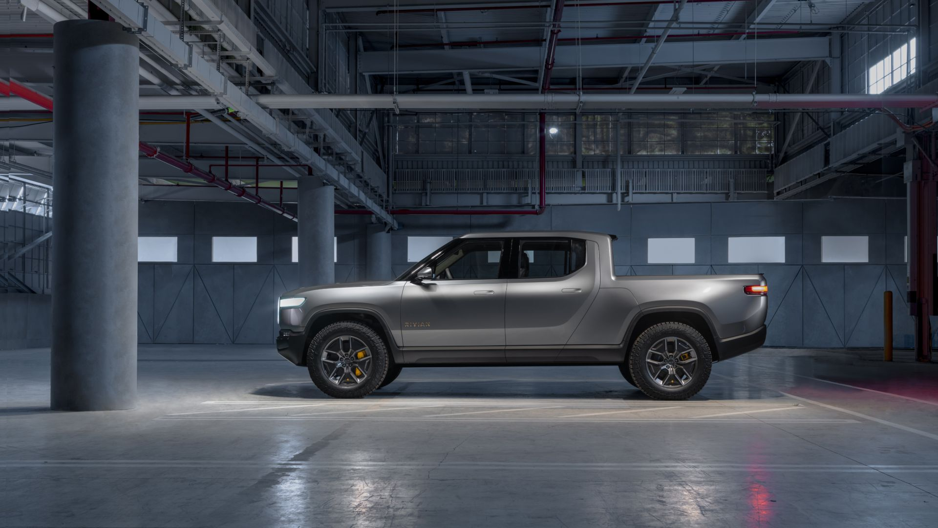 Rivian's R1T in the factory where it will be built.
