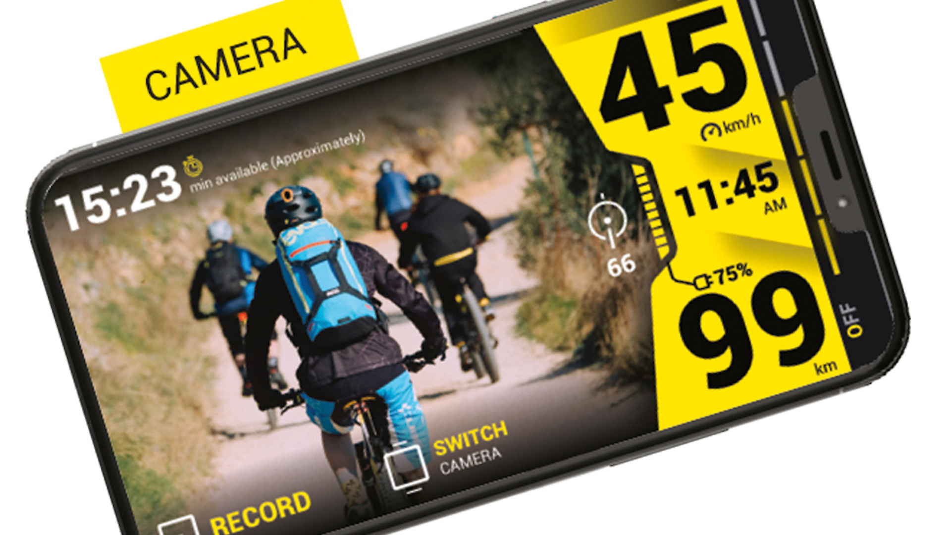 Track your stats with the onboard cameras and sensors.