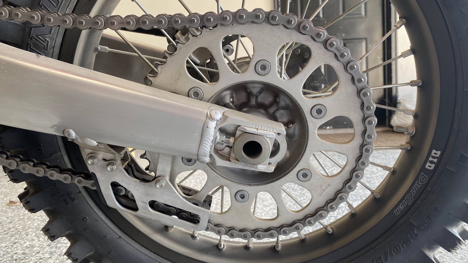 The rear sprocket of a CRF450RX.