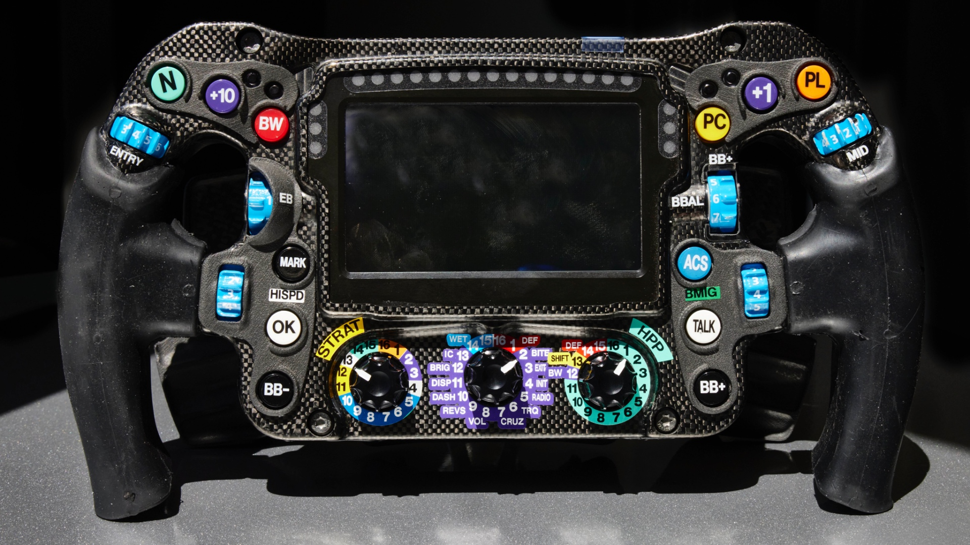 A closeup of the team's current wheel.