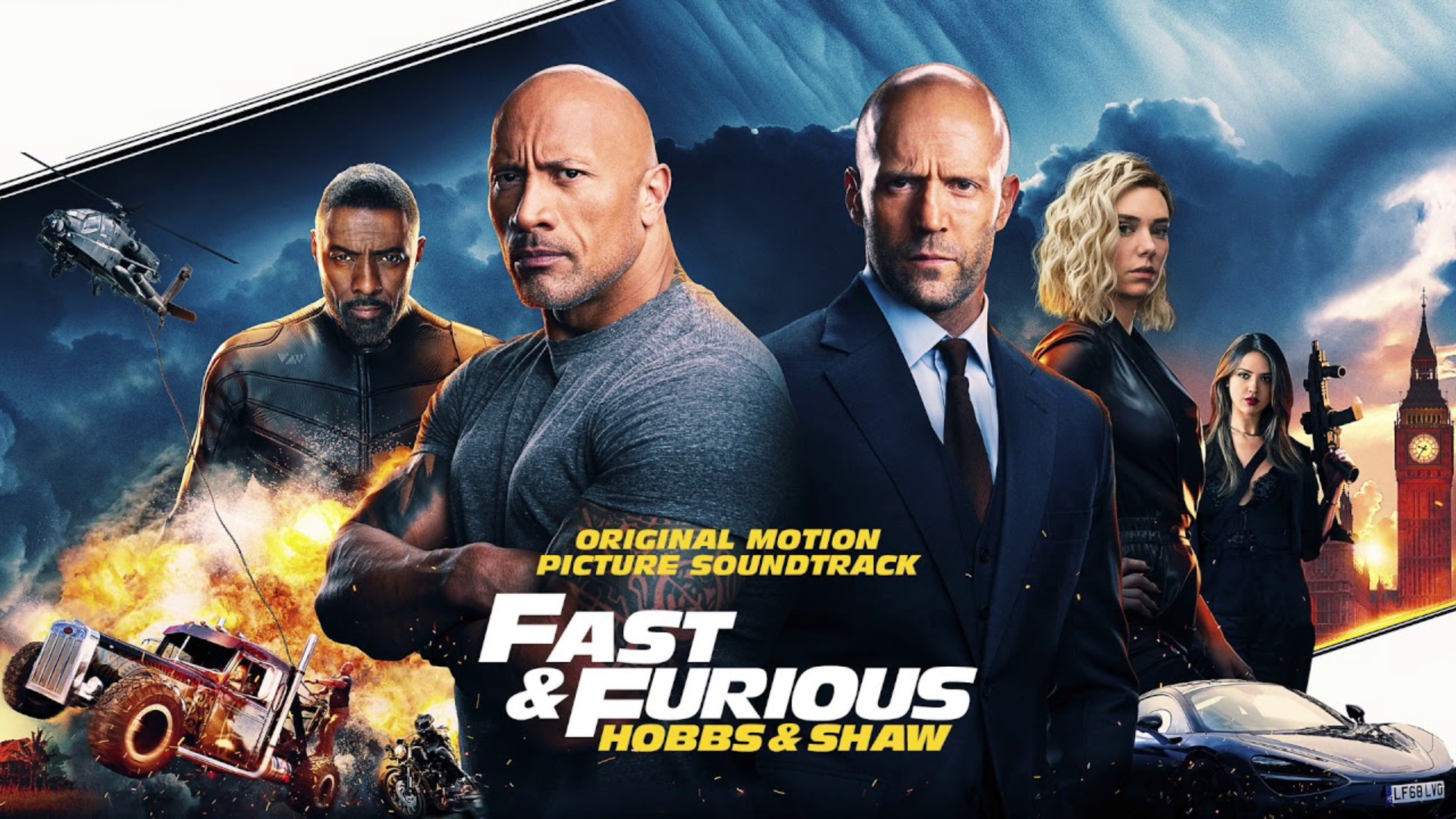 A promo for Fast and Furious Presents Hobbs and Shaw with dark clouds, guns, helicopters, cars, trucks, and explosions.
