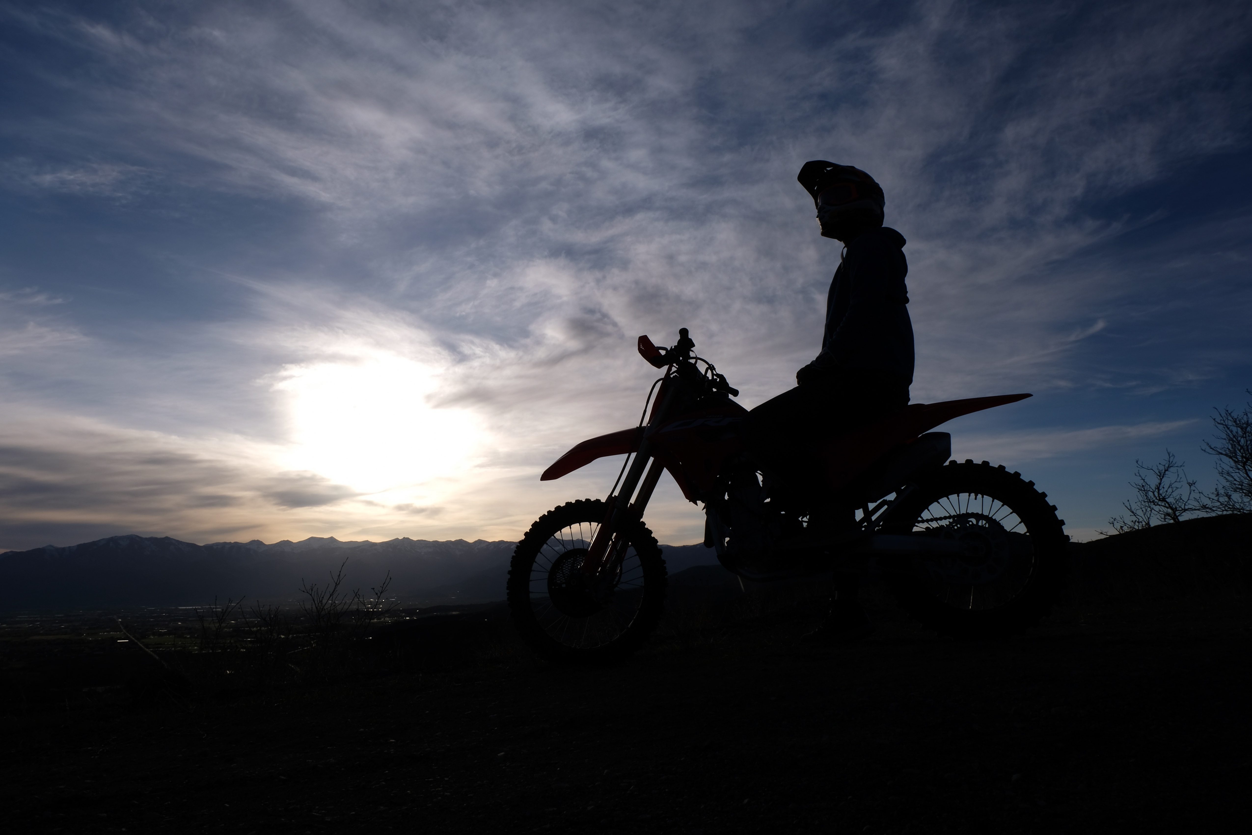 The author on the CRF450RX at dusk.