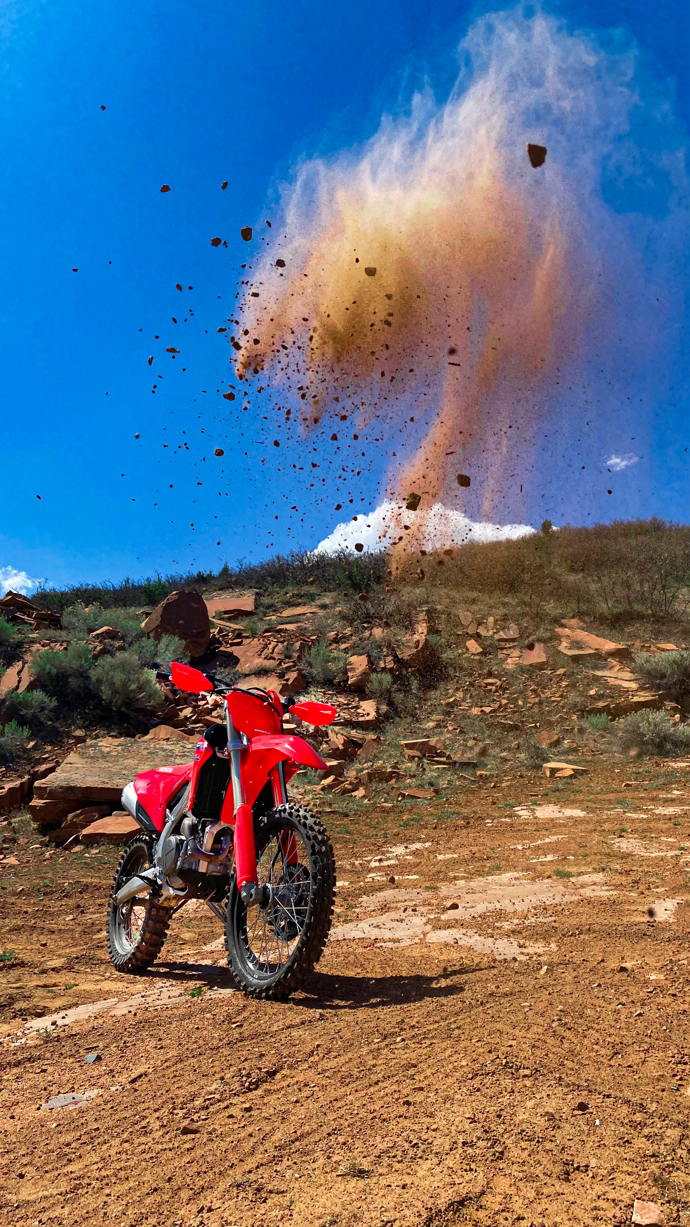 Dirt thrown up to make a nice photo of the CRF450RX.