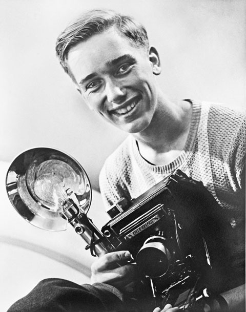 Douglas in 1952 with his trusty Speed Graphic.