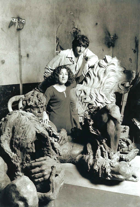 Pat and Zalman in the downtown studio, 1968.