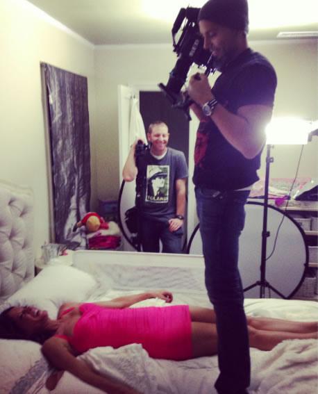 "Stafford ""in bed"" with cameraman Franklin Guerrero, Jr."
