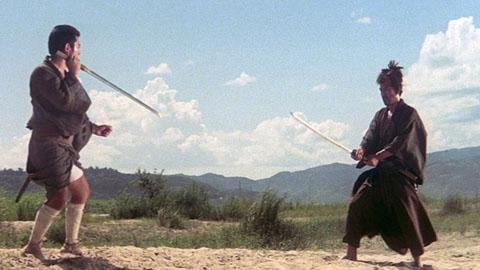 "Zatoichi's ""reverse sword"" stance."