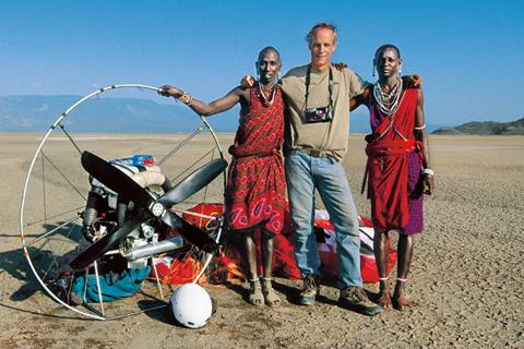 Steinmetz with two Kenyan Masai at Lake Natron.