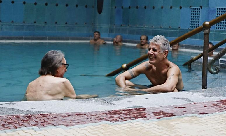 Vilmos Zsigmond and Anthony Bourdain in the Gellért Baths in Budapest. (Credit: CNN)