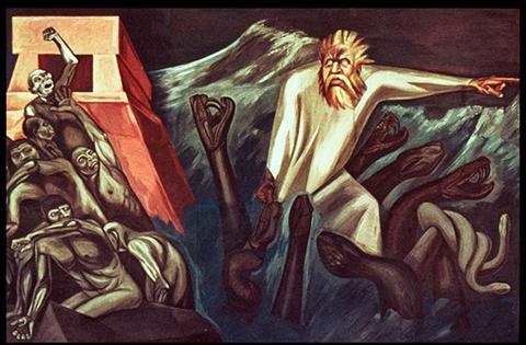 """""""The Departure of Quetzalcoatl"""" detail."""