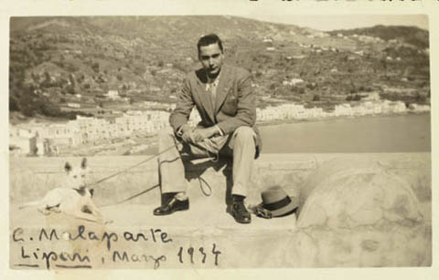 Malaparte with his dog Febo on the island of Lipari, in internal exile, 1934.