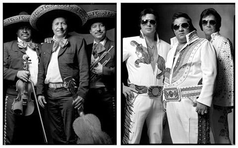 "Mariachis/Elvis impersonators, 57.5""x92,"" by Mark Laita."