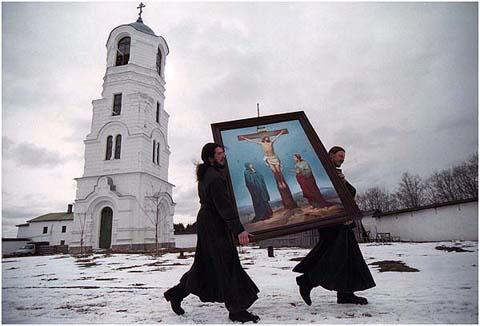 Two monks carrying an icon, Aleksando, Svirsky monastery.