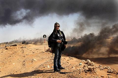 Addario in Libya shortly before her capture. (Photo: John Moore.)