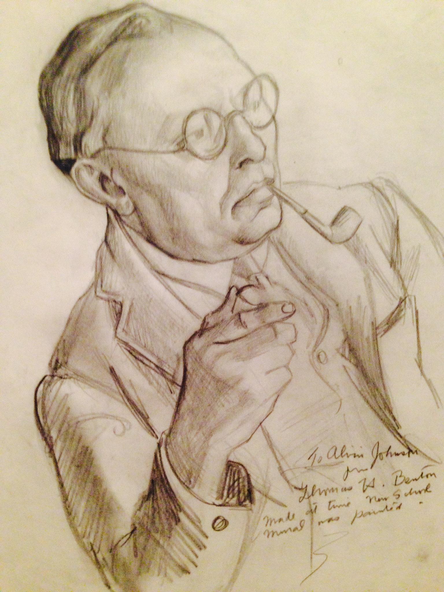 Benton's drawing of Alvin Johnson.
