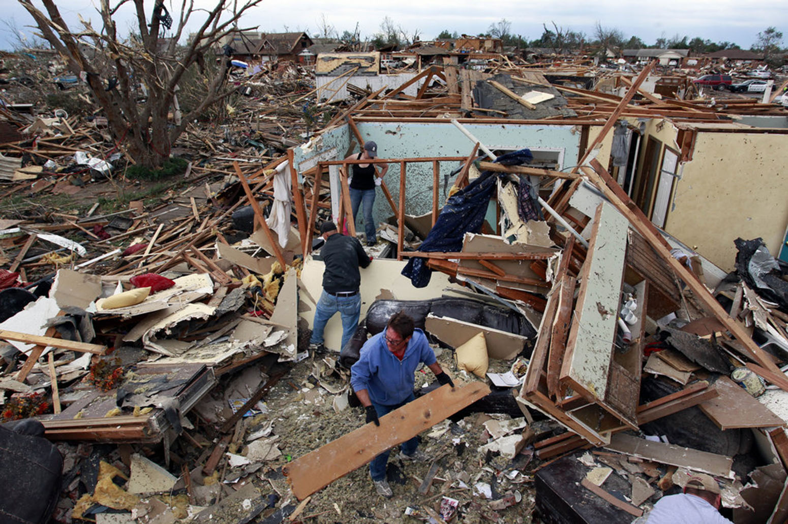 The aftermath of a tornado in Moore, Okla.