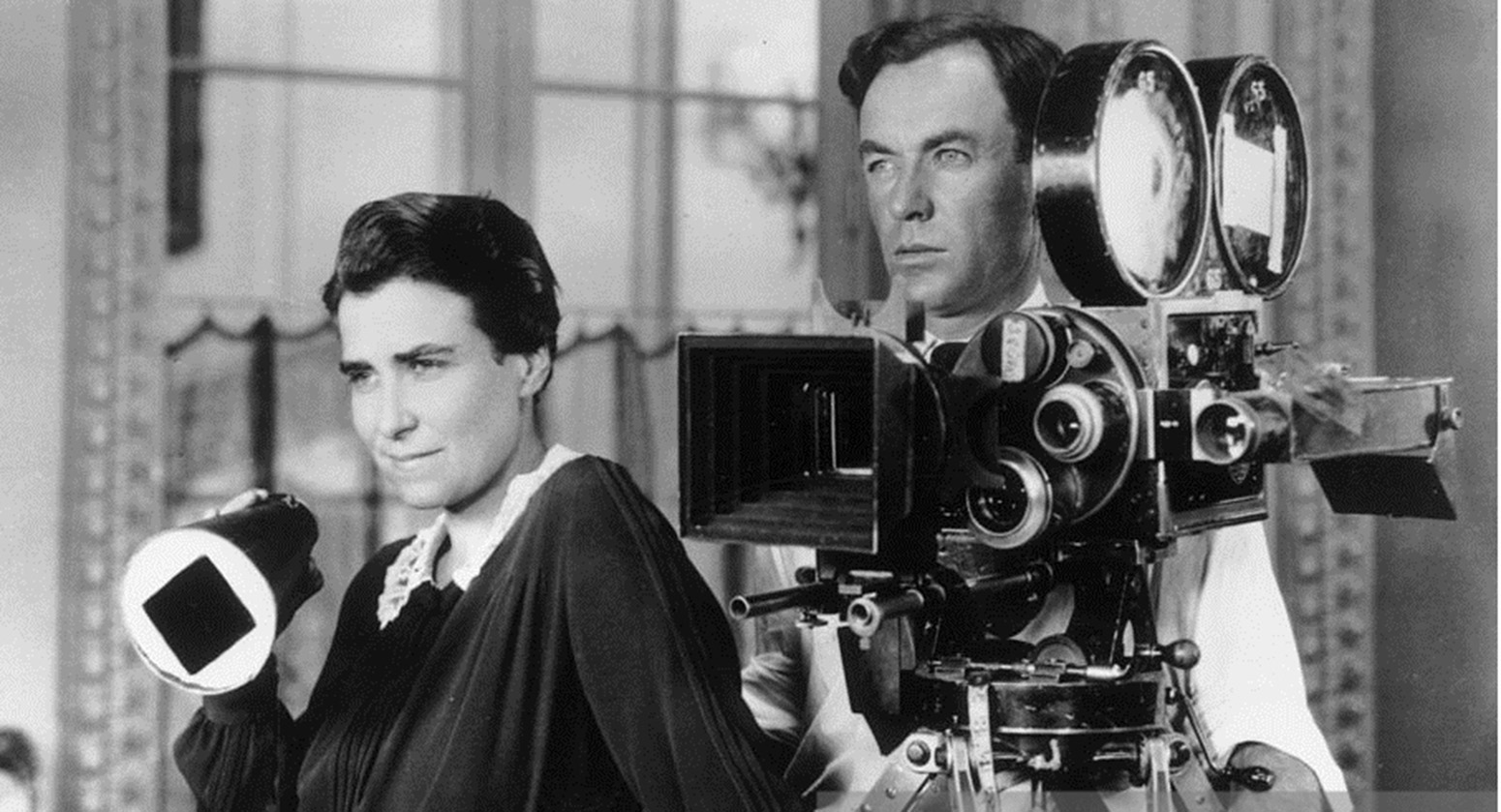 Director Dorothy Arzner and cinematographer Alfred Gilks at work on Get Your Man.
