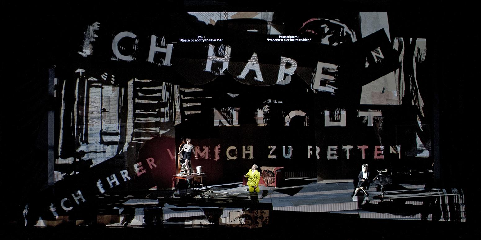 A scene from the Dutch Opera House production, featuring Mojca Erdmann as Lulu and Johan Reuter as Dr. Schön.