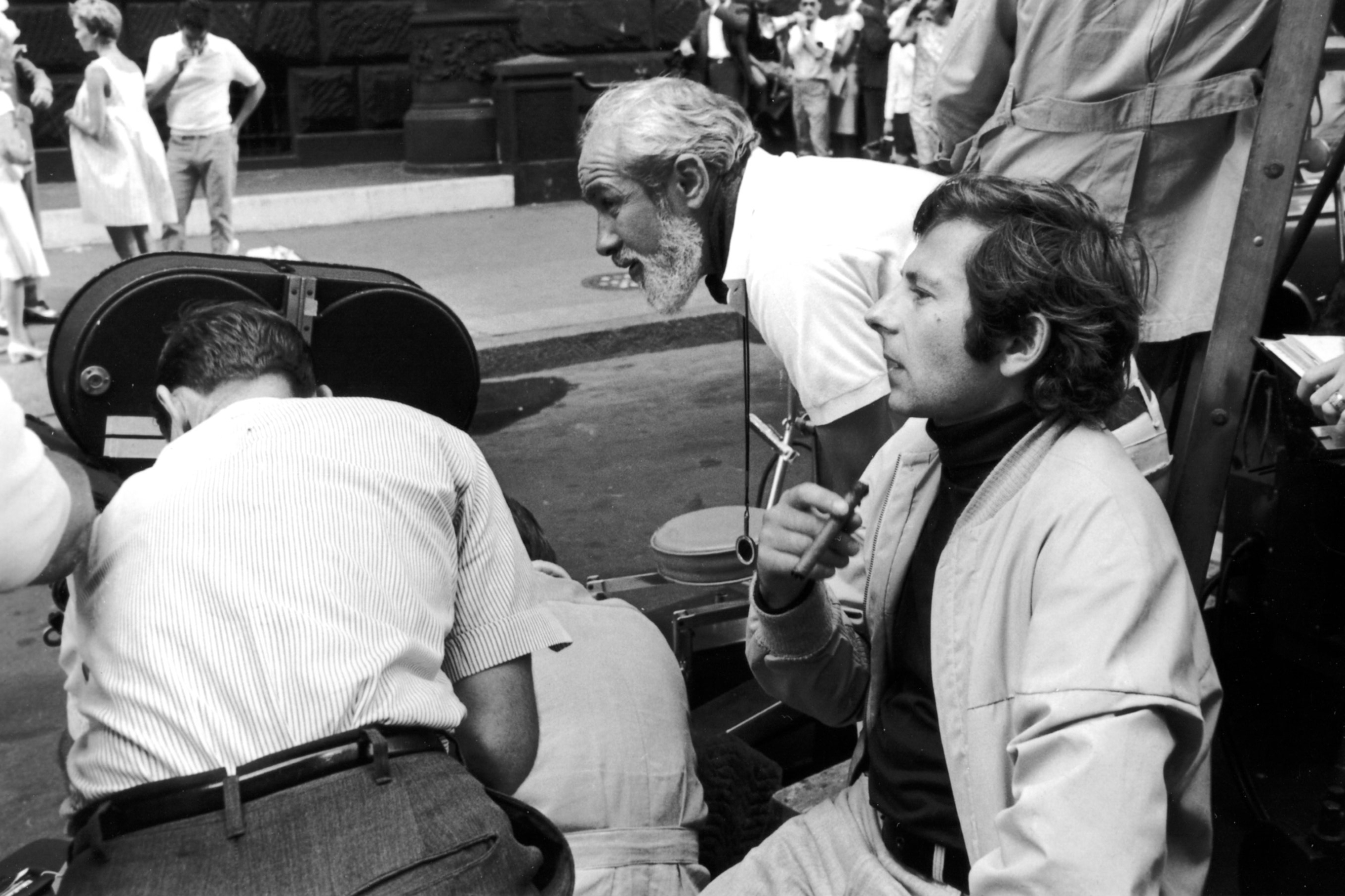 Fraker and Polanski plot their next shot on location in New York City. Image courtesy of AMPAS.