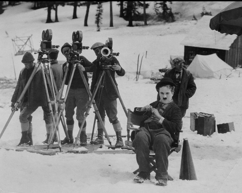 Charlie Chaplin and crew at work on The Gold Rush (1925). (Credit: Margaret Herrick Library)