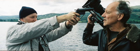 "Zak Penn drawing down on Herzog, ""Incident at Loch Ness."" It's a flare gun, unloaded."