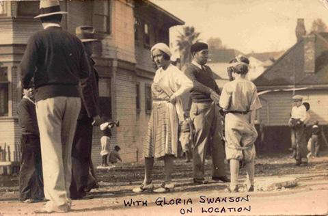 Gloria Swanson (center) and Mimura (wearing beret) at work on The Trespasser.
