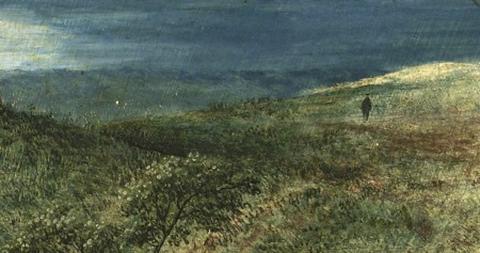 Detail: Rain on the moor.