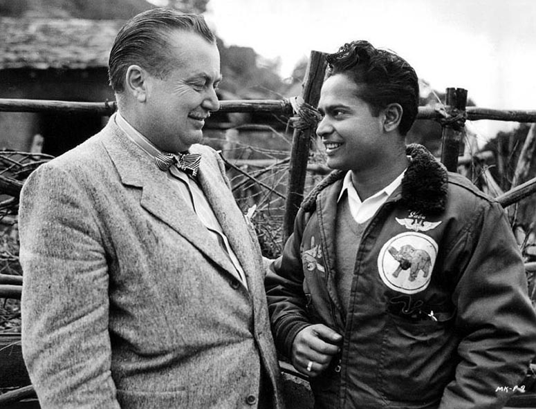 Byron Haskin (left) with Sabu during filming of Man-eater of Kumaon (1948).