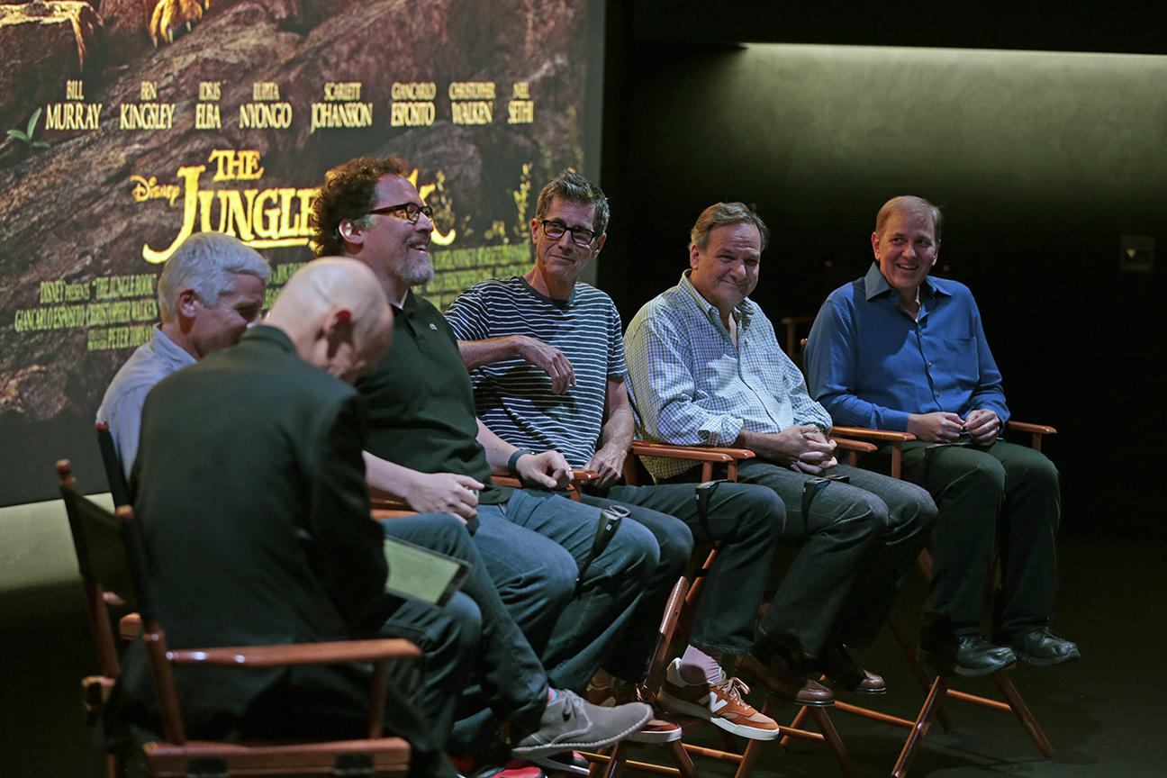 From left, moderator David Morin, ASC and the Jungle Book creative team, which included producer Bringham Taylor, director-producer Jon Favreau, cinematographer Bill Pope, ASC; visual effects supervisor Rob Legato, ASC and supervising finishing artist Steve Scott.