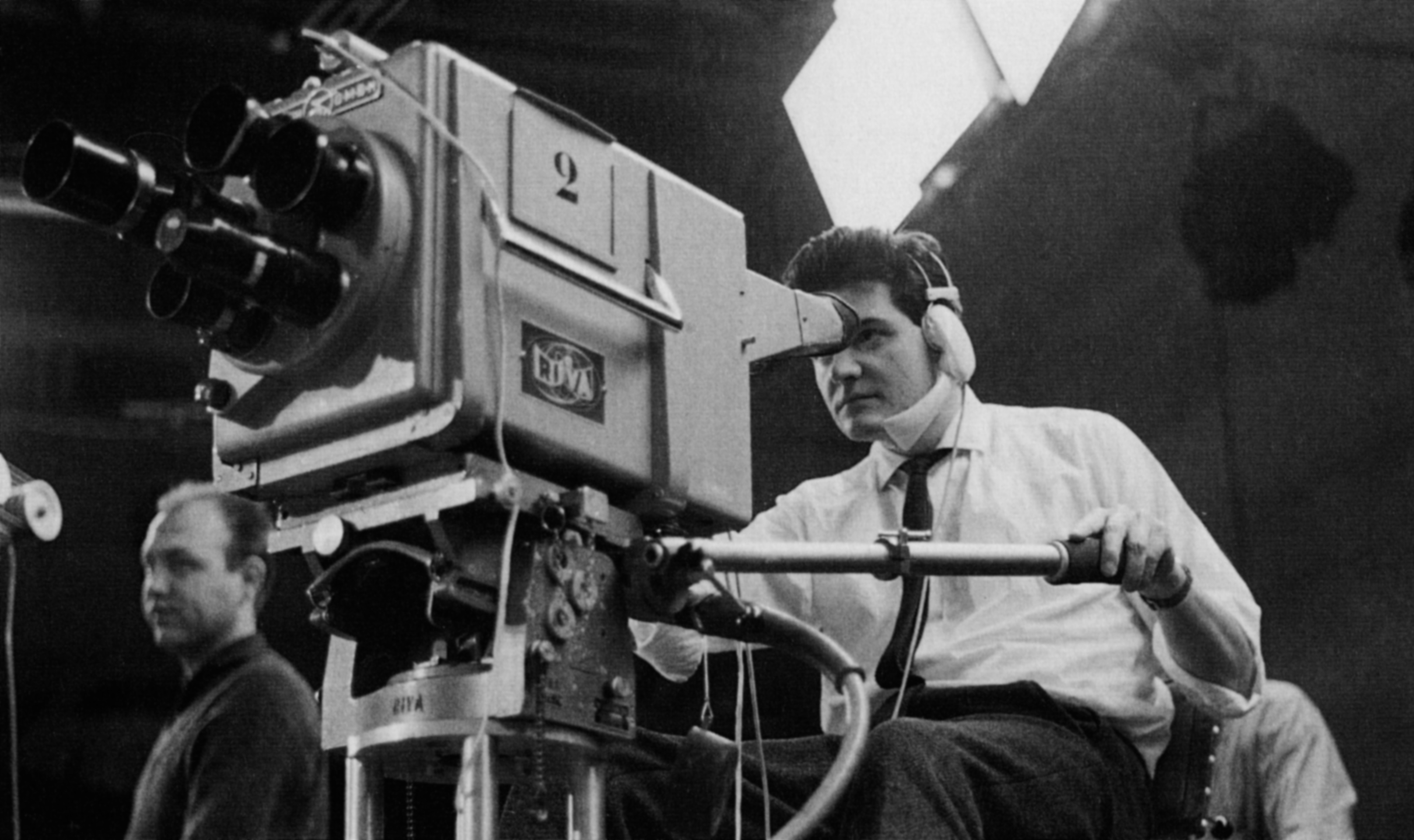 A youthful Ballhaus operates a broadcast camera during his television days in Baden-Baden.