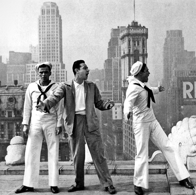 Frank Sinatra, Stanley Donen and Gene Kelly on location for On the Town.