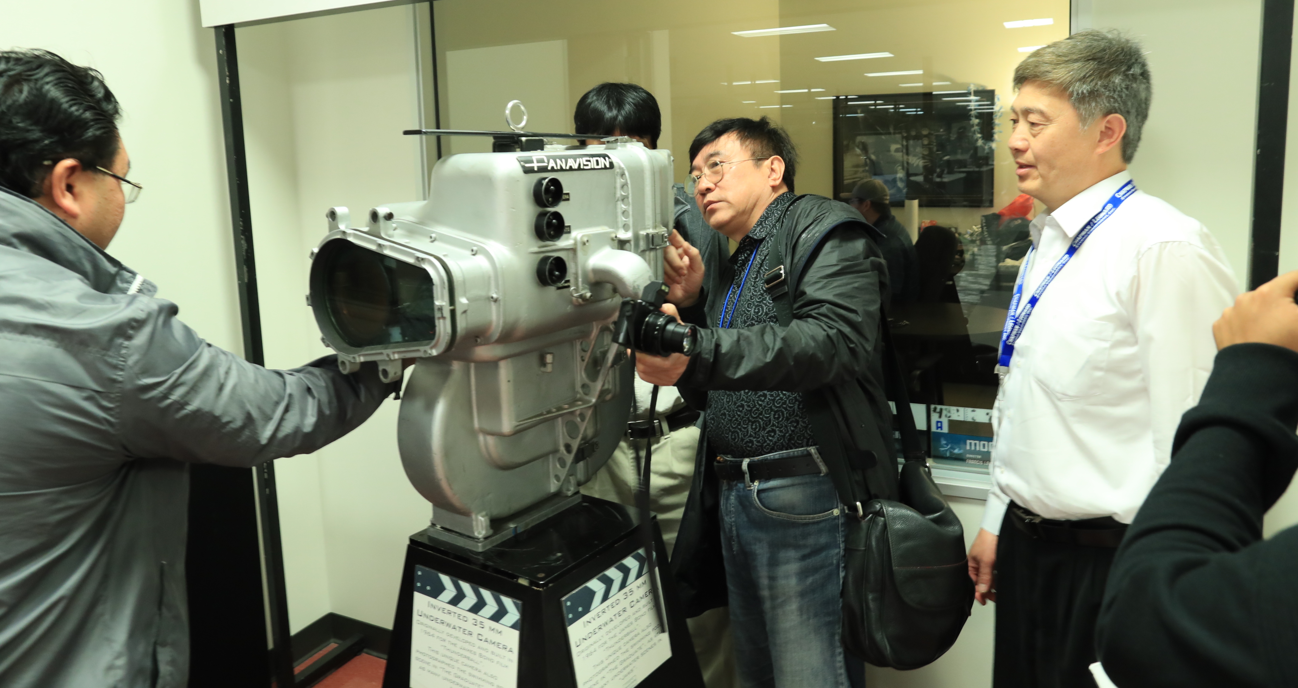 Inspecting a Panavision underwater camera housing. Photo by James Neihouse, ASC