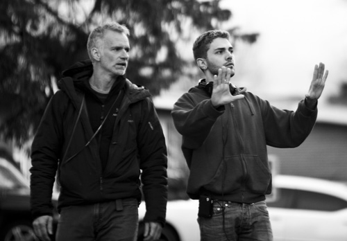 Andre Turpin and Xavier Dolan on set of Mommy-
