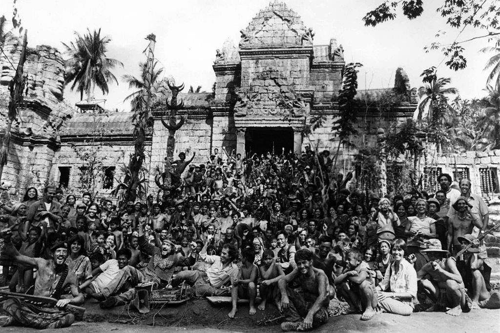 A cast and crew photo taken on the temple set.