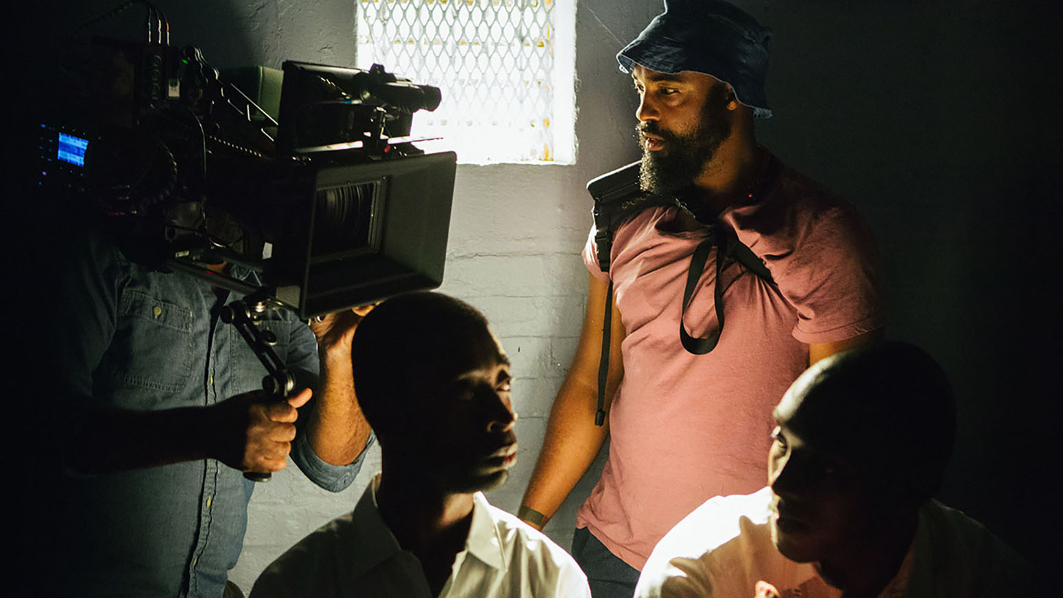 Young on set for Selma.