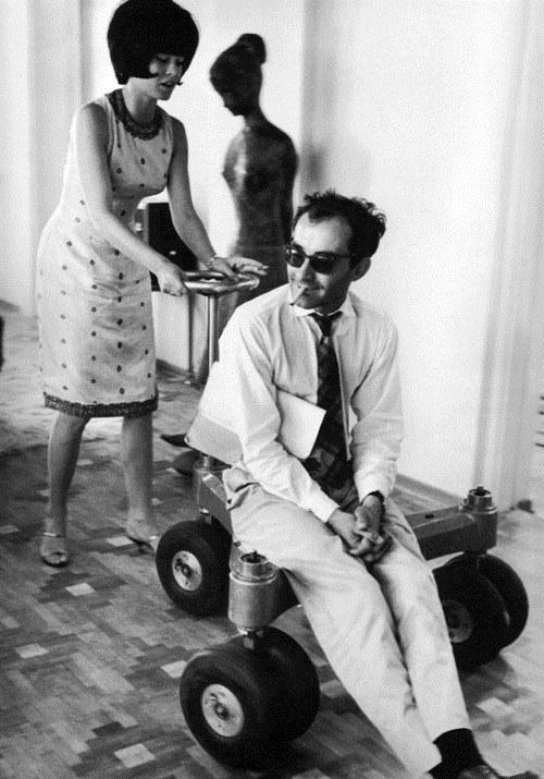 Brigitte Bardot and Jean-Luc Godard on set of Contempt