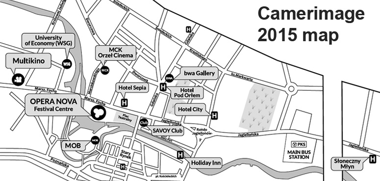 Map of Bydgoszcz with Camerimage 2015 venues