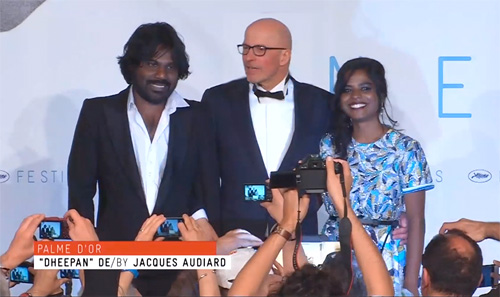 Cannes - Jacques Audiard with lead actors of Dheepan-