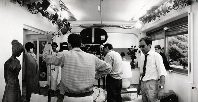 Ceiling bounce on the set of Contempt