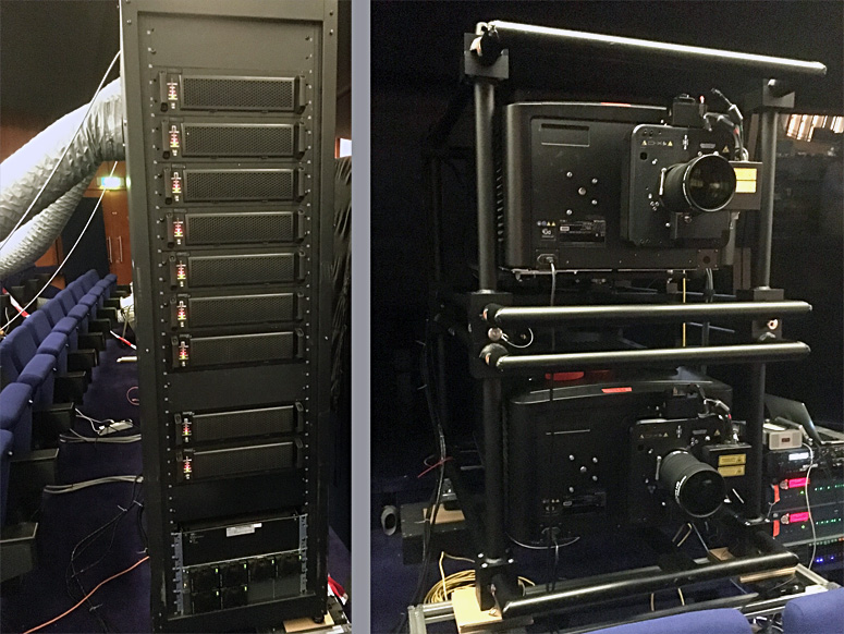 Christie 9kW laser rack and two Christie 4KLH projectors configured for 6P 3D