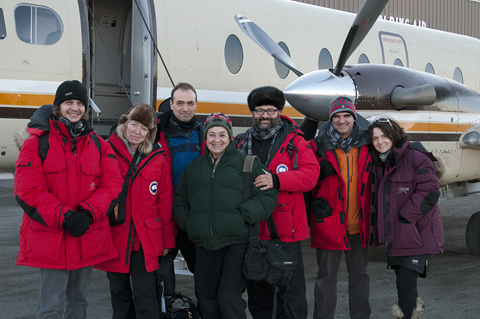 Left to right:Andres Eichelmann, editor; Deborah Schildt, production in Alaska; Juan Cristobal Perez Grobet, music and sound mixing; Lourdes Grobet, director; Xavier Grobet, cinematographer; Ramiro Ruiz, producer and Stacy Marie Boles, production in Alaska.