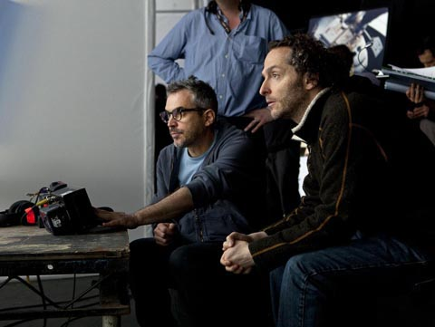 """Alfonso Cuarón and Emmanuel """"Chivo"""" Lubezki on the set of GRAVITY."""