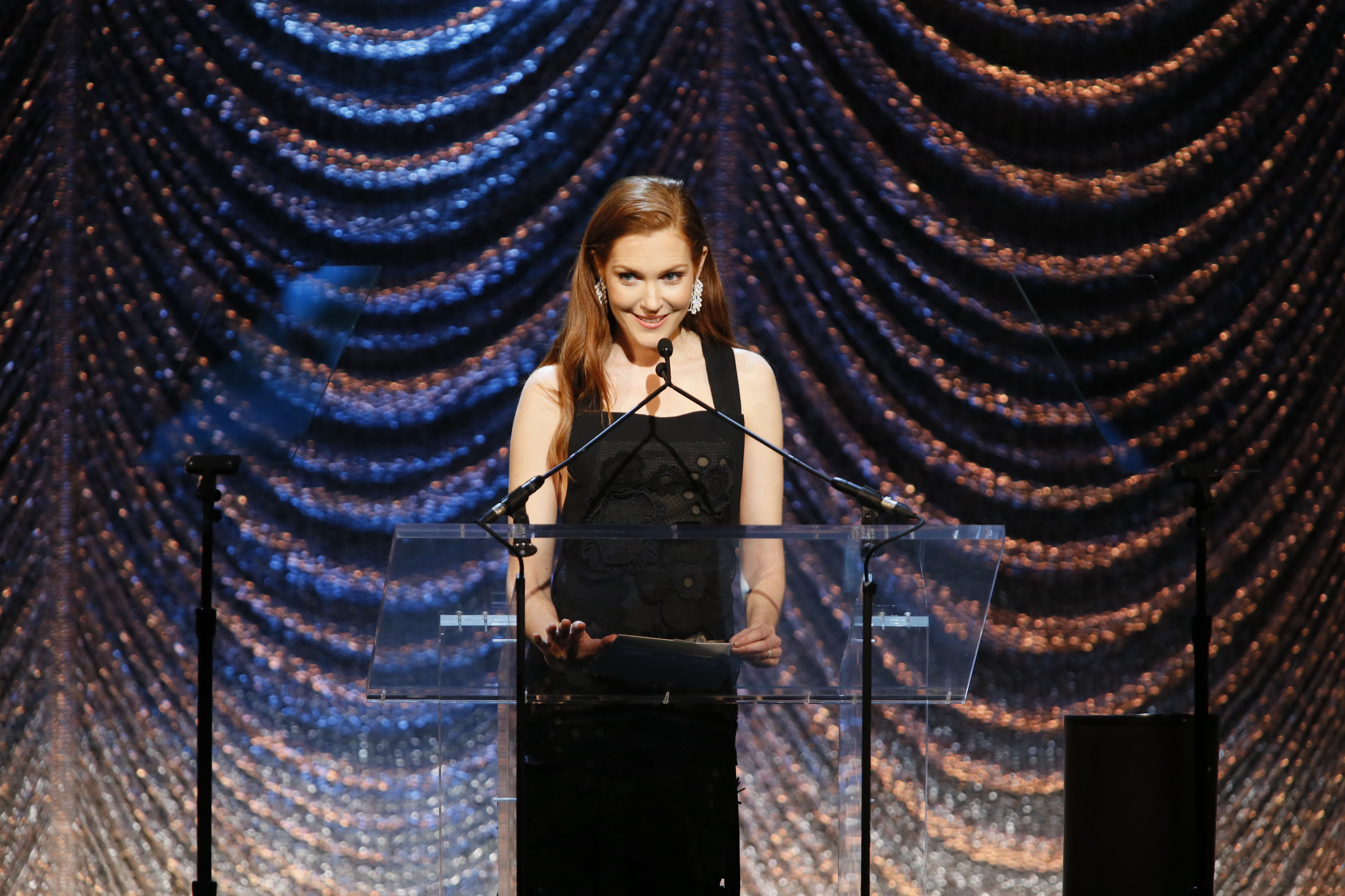 Presenter Darby Stanchfield announces the winner for Regular Series for Non-Commercial Television.