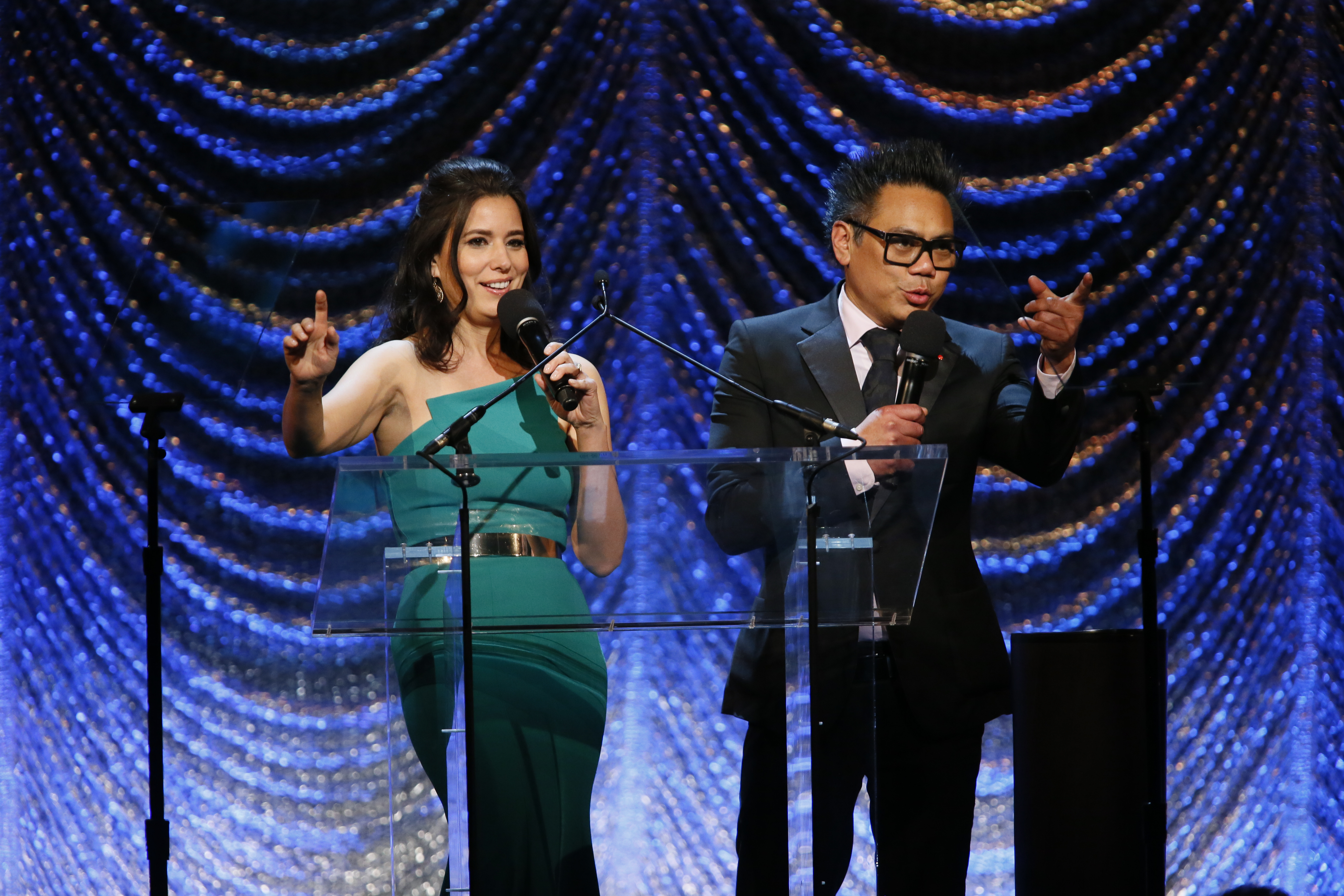 ASC Awards co-hosts Delphine Figueras and Matthew Libatique, ASC close the show with a toast.